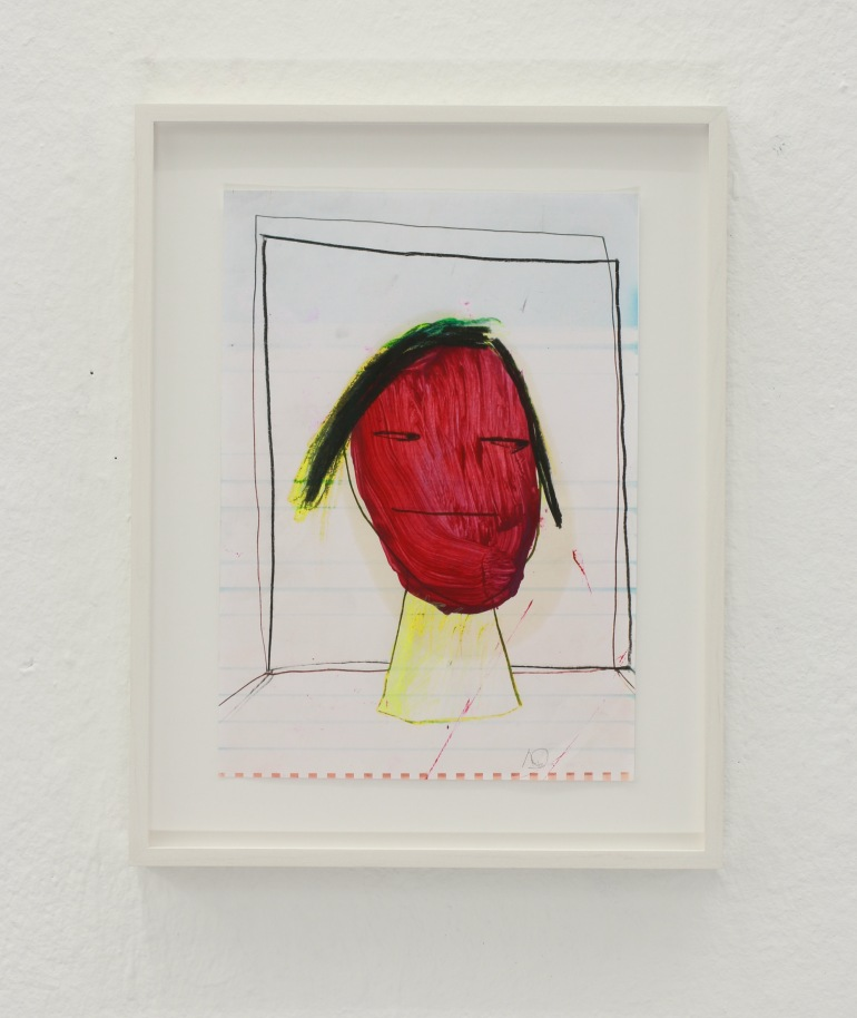 Untitled (Head) , pencil and oil on inkjetprint , 29 x 21 cm , 2017